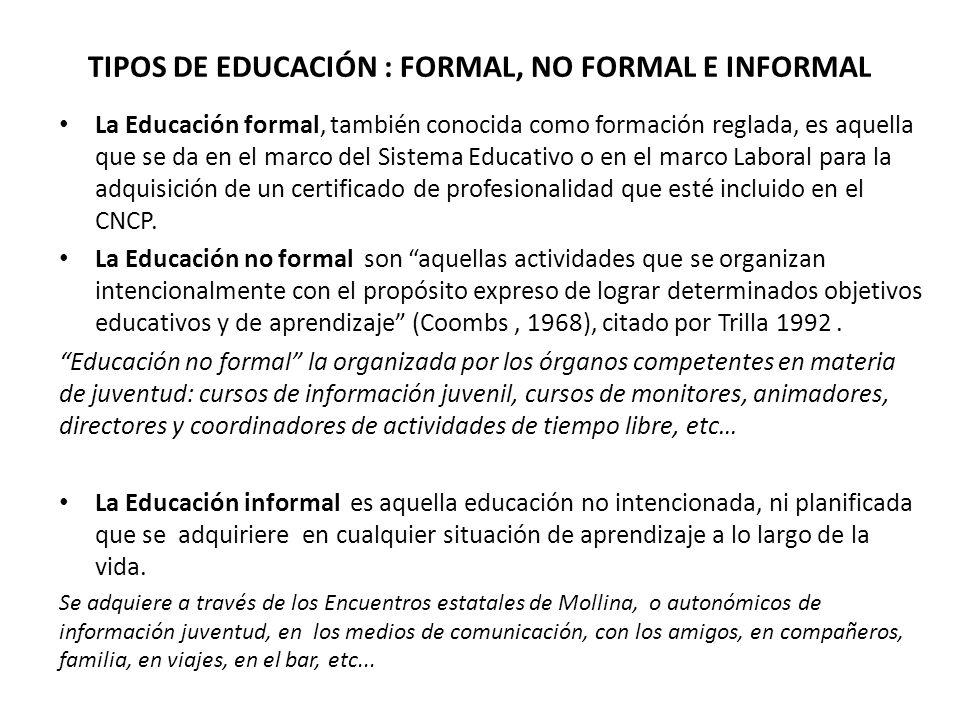 TIPOS DE EDUCACIÓN : FORMAL, NO FORMAL E INFORMAL
