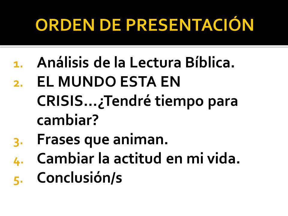 ORDEN DE PRESENTACIÓN Análisis de la Lectura Bíblica.