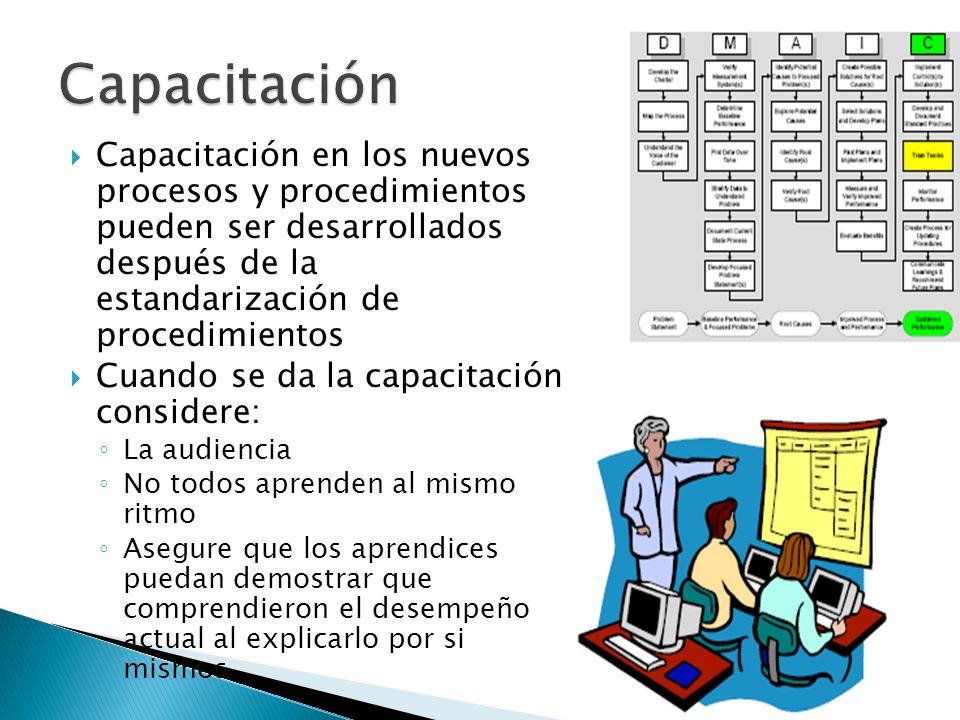 Capacitación Capacitación en los nuevos procesos y procedimientos pueden ser desarrollados después de la estandarización de procedimientos.