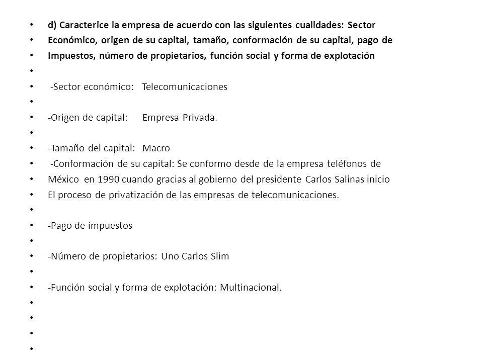 d) Caracterice la empresa de acuerdo con las siguientes cualidades: Sector