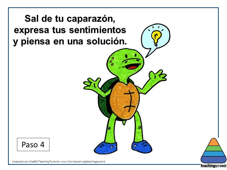 Teaching Pyramid Updated June 2012. Sal de tu caparazón, expresa tus sentimientos y piensa en una solución.