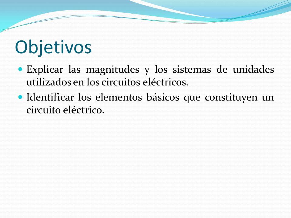 Objetivos Explicar las magnitudes y los sistemas de unidades utilizados en los circuitos eléctricos.