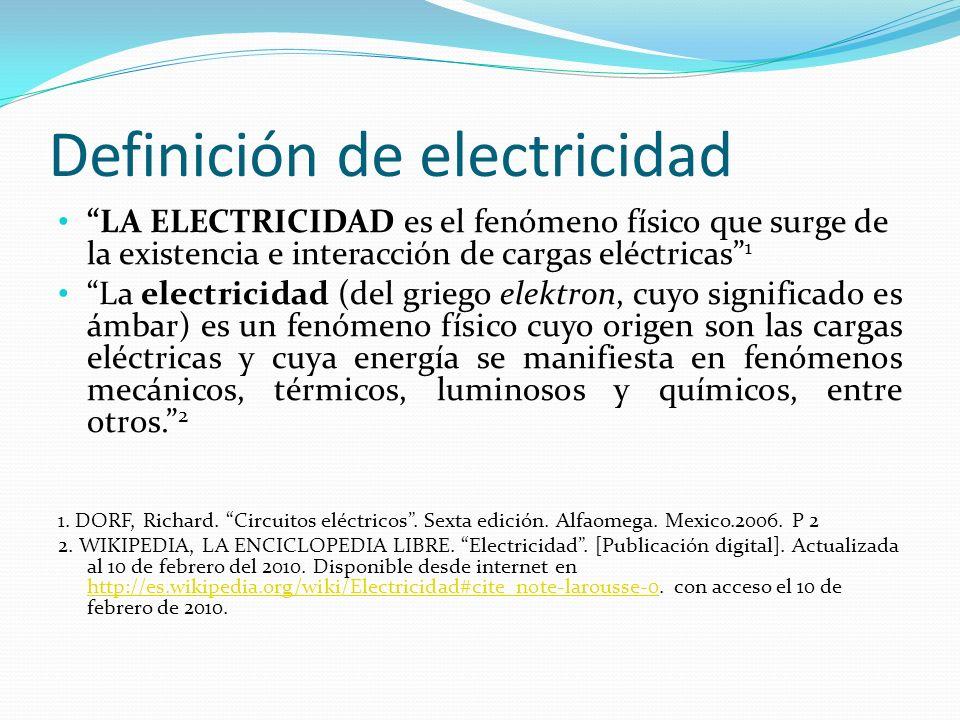 Definición de electricidad
