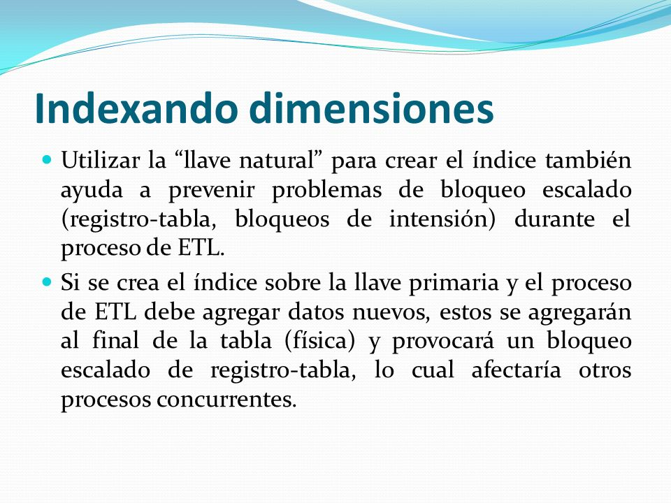 Indexando dimensiones