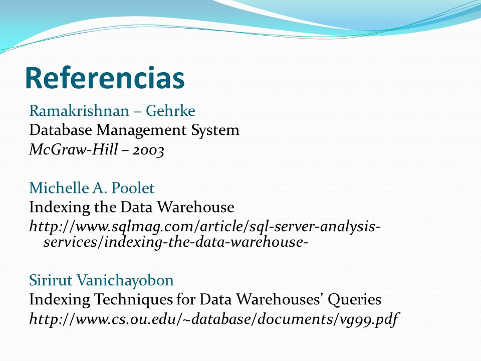 Referencias Ramakrishnan – Gehrke Database Management System