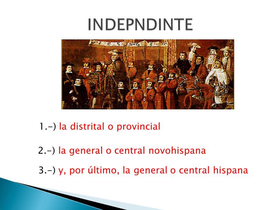 INDEPNDINTE 1.-) la distrital o provincial