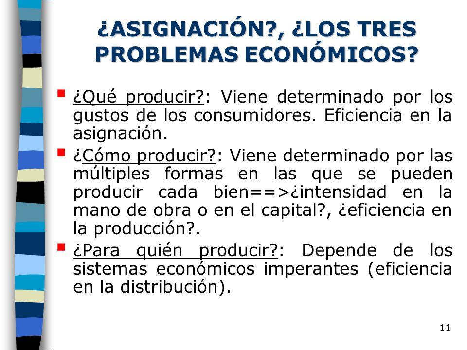 ¿ASIGNACIÓN , ¿LOS TRES PROBLEMAS ECONÓMICOS