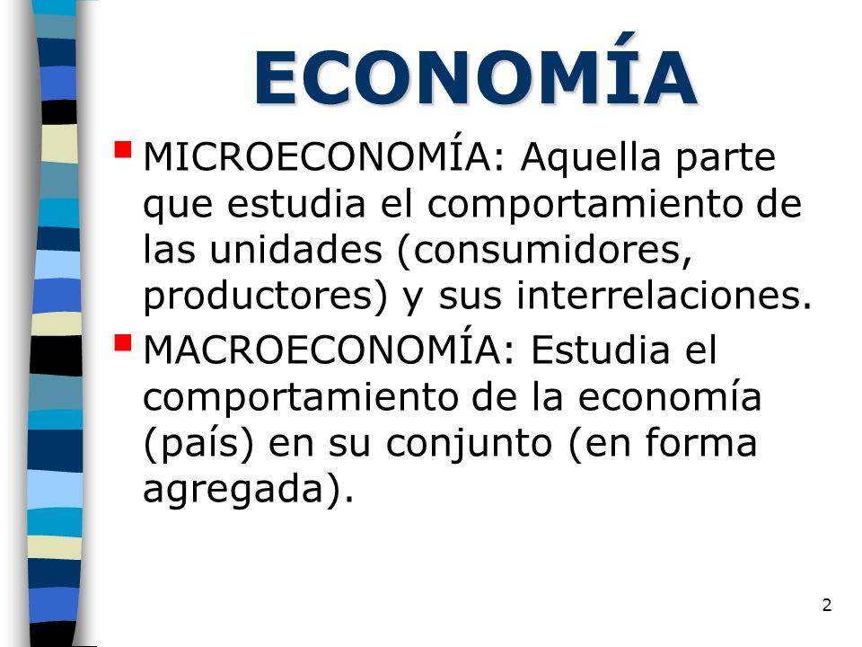 ECONOMÍA MICROECONOMÍA: Aquella parte que estudia el comportamiento de las unidades (consumidores, productores) y sus interrelaciones.