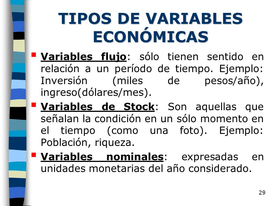 TIPOS DE VARIABLES ECONÓMICAS