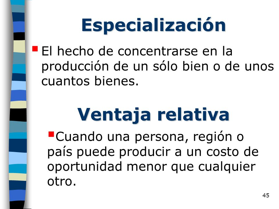 Especialización Ventaja relativa