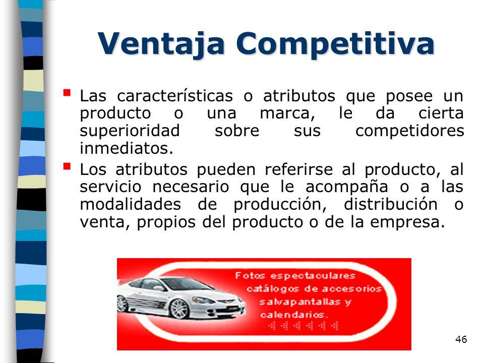 Ventaja Competitiva Las características o atributos que posee un producto o una marca, le da cierta superioridad sobre sus competidores inmediatos.