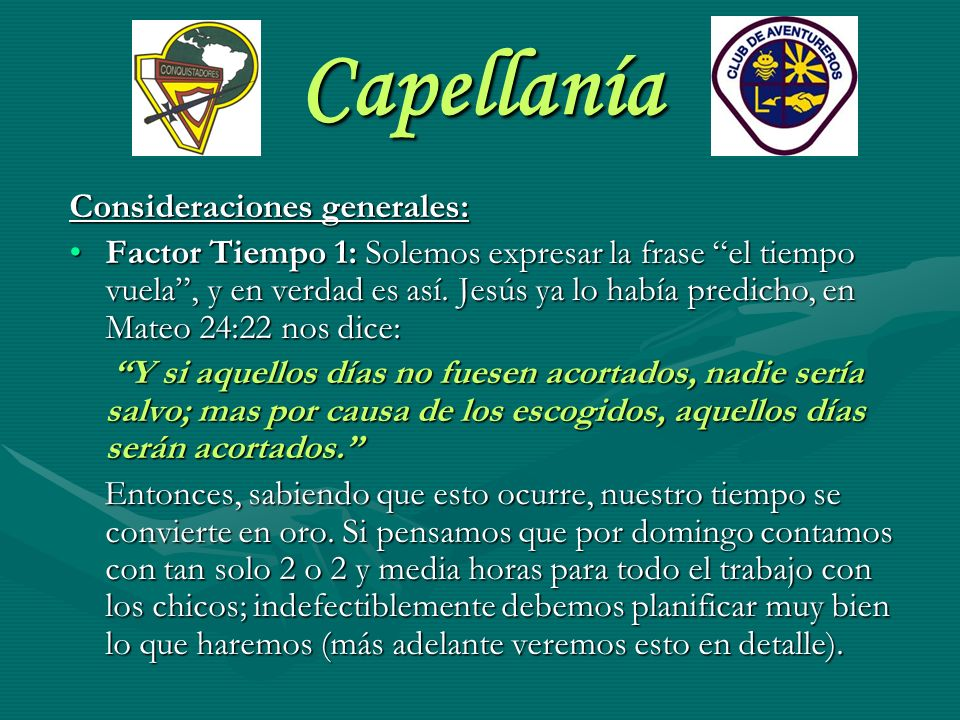 Capellanía Consideraciones generales: