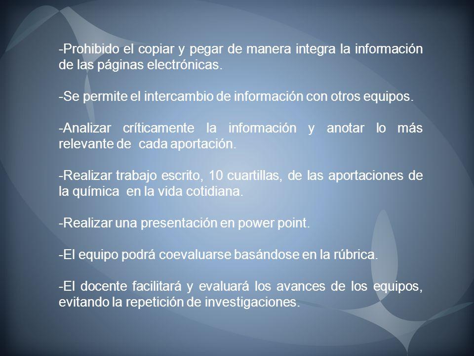 -Prohibido el copiar y pegar de manera integra la información de las páginas electrónicas.