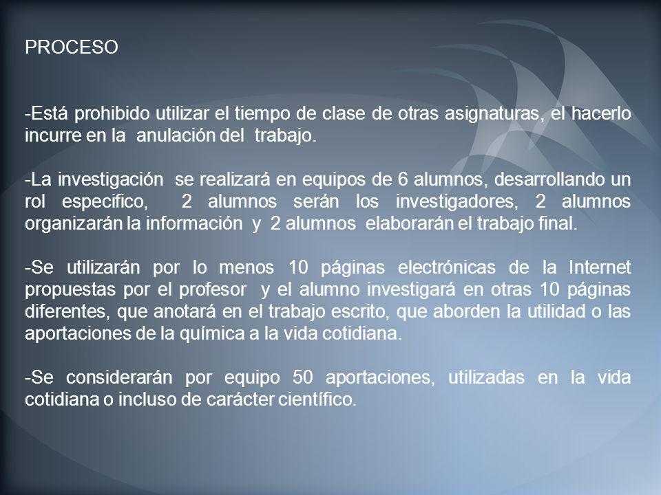 PROCESO -Está prohibido utilizar el tiempo de clase de otras asignaturas, el hacerlo incurre en la anulación del trabajo.