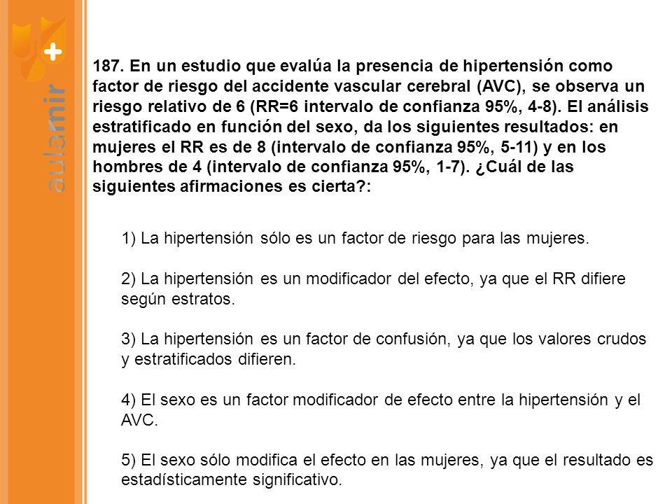 187. En un estudio que evalúa la presencia de hipertensión como factor de riesgo del accidente vascular cerebral (AVC), se observa un riesgo relativo de 6 (RR=6 intervalo de confianza 95%, 4-8). El análisis estratificado en función del sexo, da los siguientes resultados: en mujeres el RR es de 8 (intervalo de confianza 95%, 5-11) y en los hombres de 4 (intervalo de confianza 95%, 1-7). ¿Cuál de las siguientes afirmaciones es cierta :