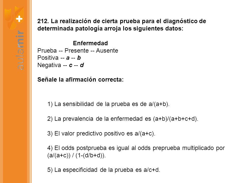 212. La realización de cierta prueba para el diagnóstico de determinada patología arroja los siguientes datos: Enfermedad Prueba -- Presente -- Ausente Positiva -- a -- b Negativa -- c -- d Señale la afirmación correcta: