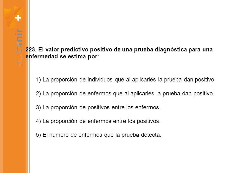 223. El valor predictivo positivo de una prueba diagnóstica para una enfermedad se estima por: