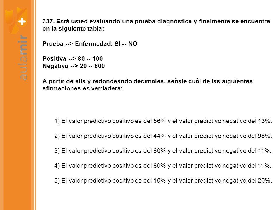 337. Está usted evaluando una prueba diagnóstica y finalmente se encuentra en la siguiente tabla: Prueba --> Enfermedad: SI -- NO Positiva --> 80 -- 100 Negativa --> 20 -- 800 A partir de ella y redondeando decimales, señale cuál de las siguientes afirmaciones es verdadera: