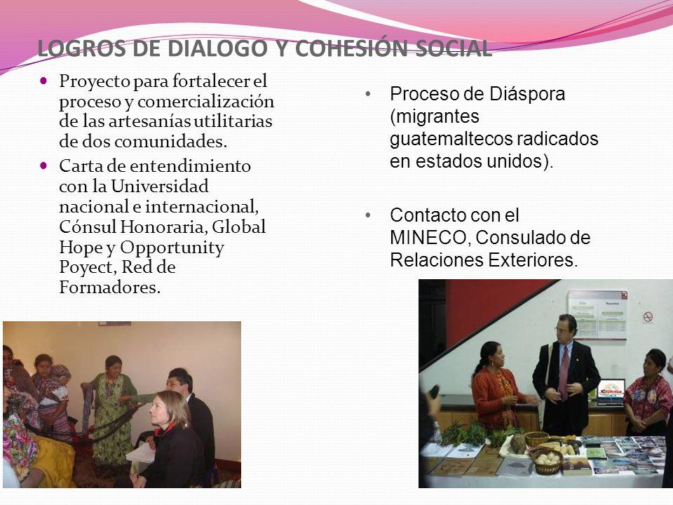 LOGROS DE DIALOGO Y COHESIÓN SOCIAL
