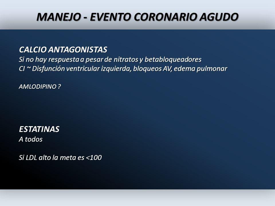 MANEJO - EVENTO CORONARIO AGUDO