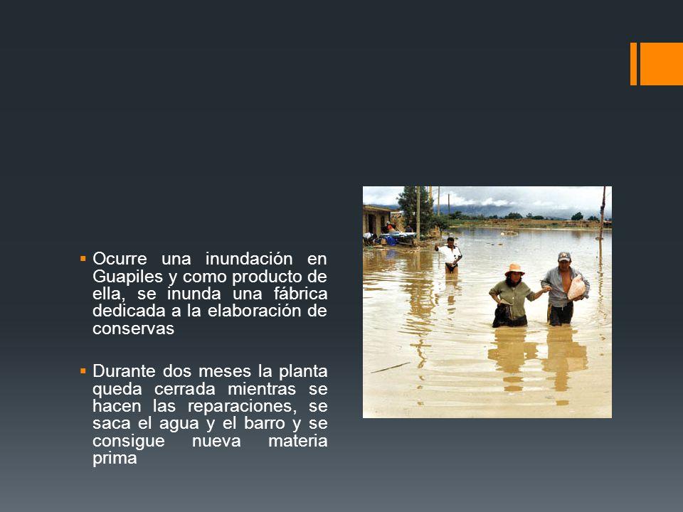 Ocurre una inundación en Guapiles y como producto de ella, se inunda una fábrica dedicada a la elaboración de conservas
