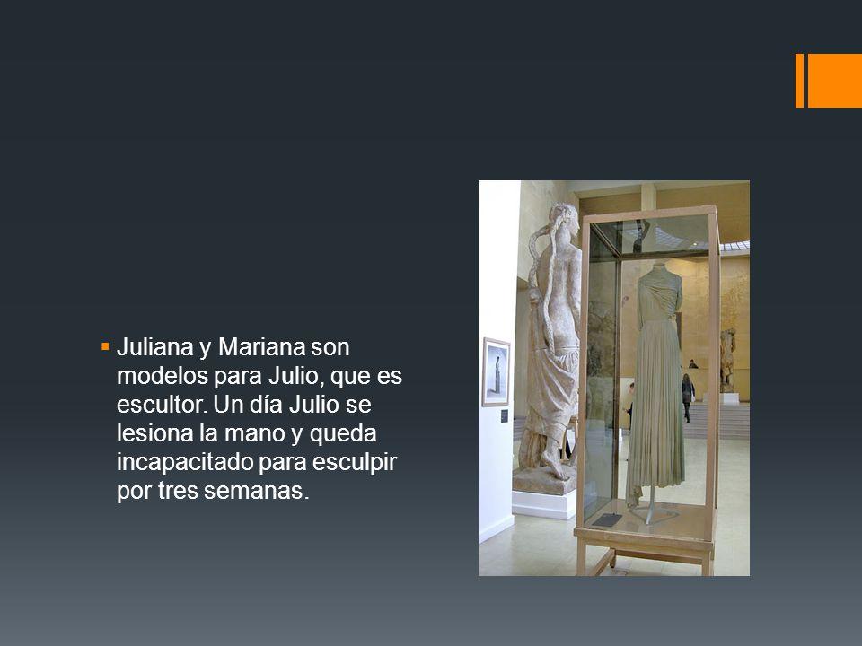 Juliana y Mariana son modelos para Julio, que es escultor