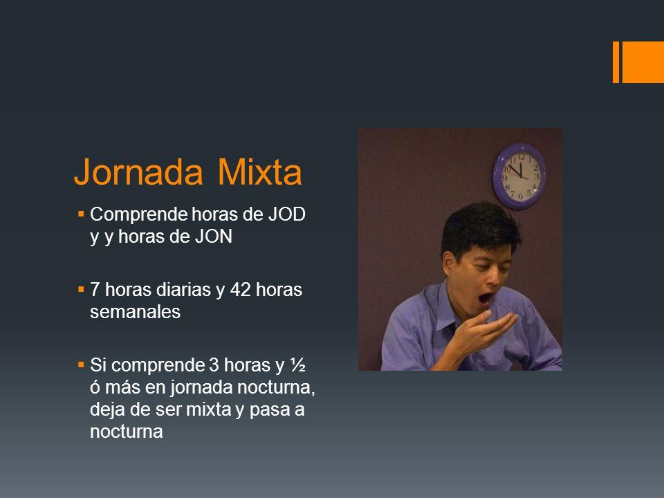 Jornada Mixta Comprende horas de JOD y y horas de JON