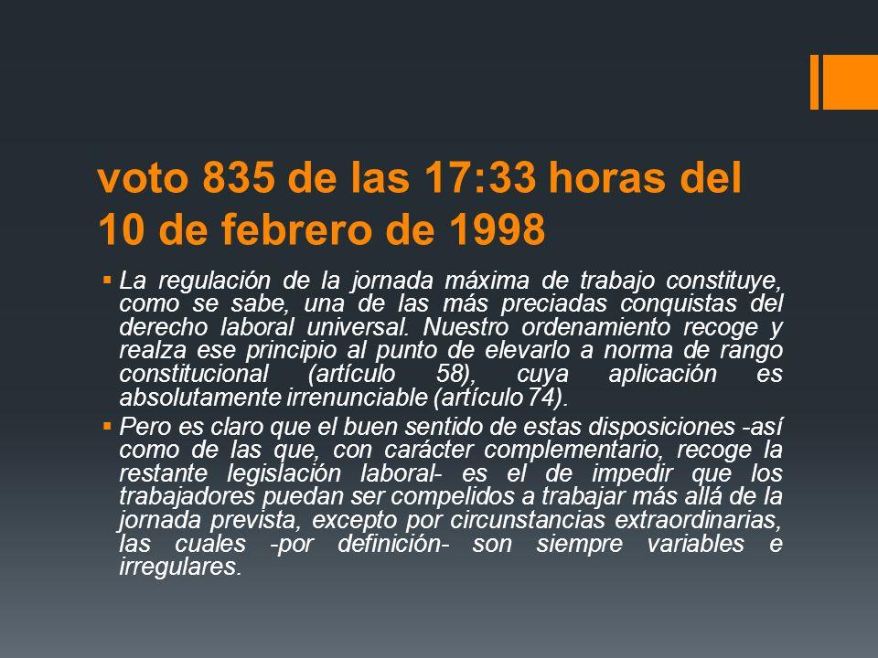 voto 835 de las 17:33 horas del 10 de febrero de 1998