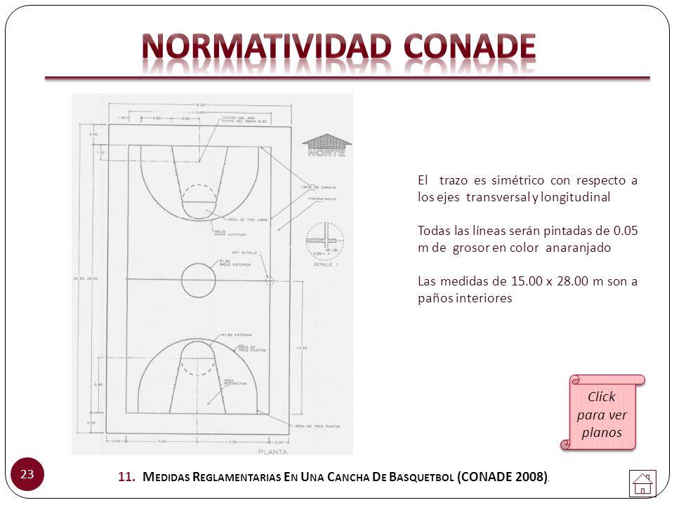 11. Medidas Reglamentarias En Una Cancha De Basquetbol (CONADE 2008).