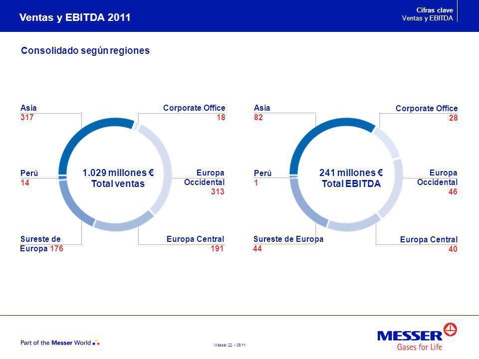 Ventas y EBITDA 2011 Consolidado según regiones 1.029 millones €