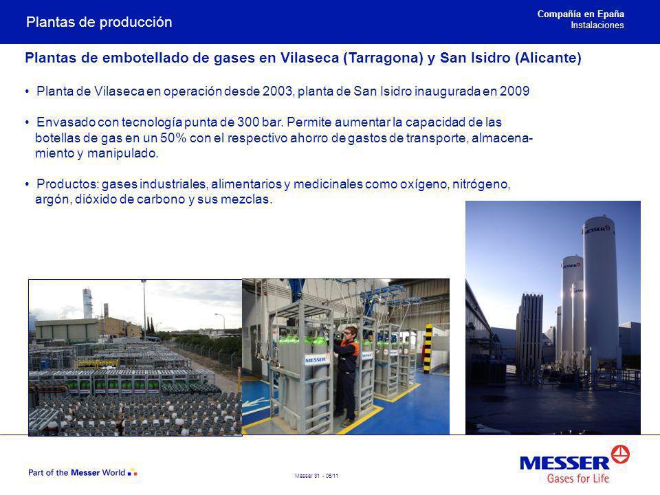 Plantas de producción Compañía en Epaña. Instalaciones. Plantas de embotellado de gases en Vilaseca (Tarragona) y San Isidro (Alicante)