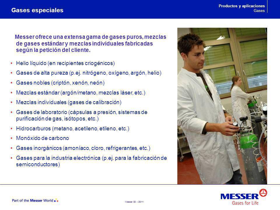 Gases especiales Productos y aplicaciones. Gases.