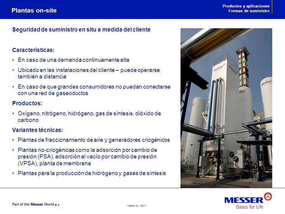 Plantas on-site Seguridad de suministro en situ a medida del cliente