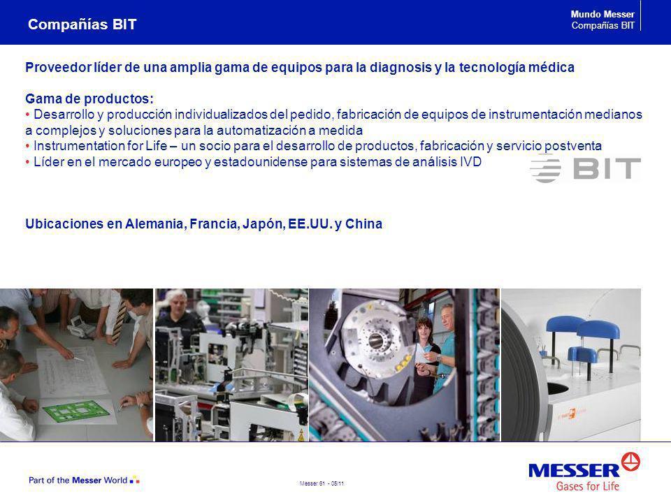 Compañías BIT Mundo Messer. Compañías BIT. Proveedor líder de una amplia gama de equipos para la diagnosis y la tecnología médica.