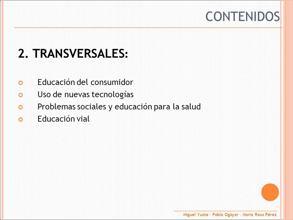 CONTENIDOS 2. TRANSVERSALES: Educación del consumidor