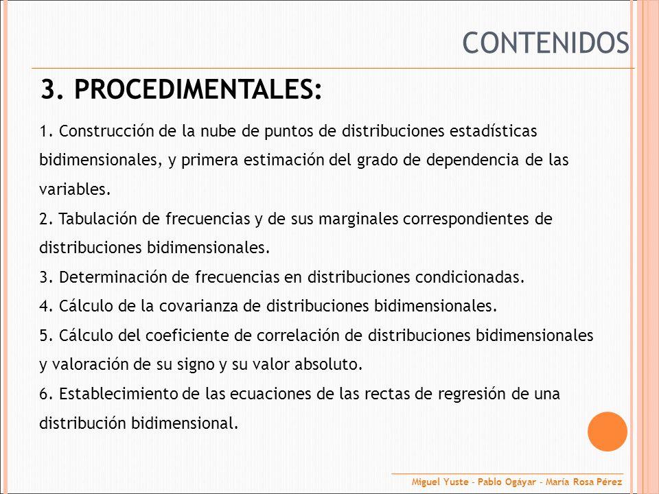 CONTENIDOS 3. PROCEDIMENTALES: