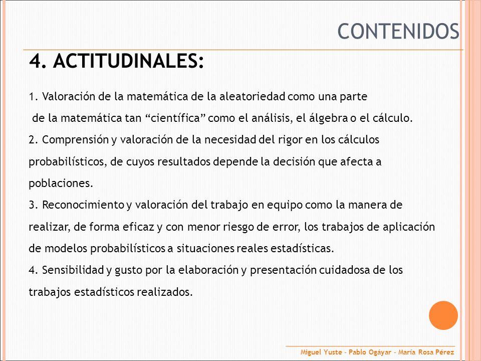 CONTENIDOS 4. ACTITUDINALES: