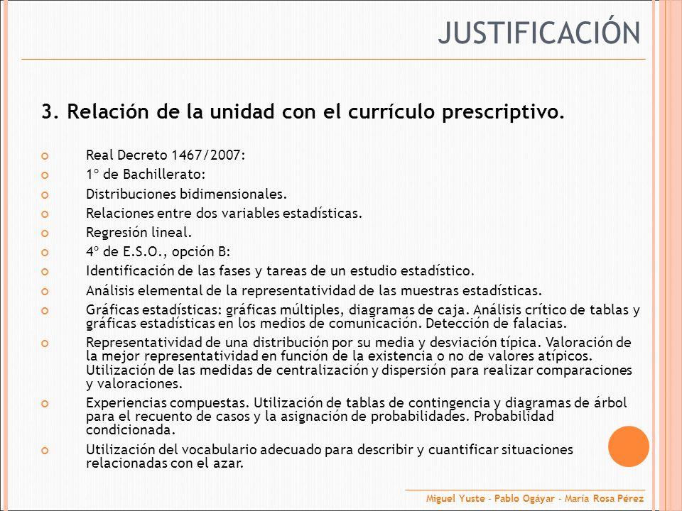 JUSTIFICACIÓN 3. Relación de la unidad con el currículo prescriptivo.