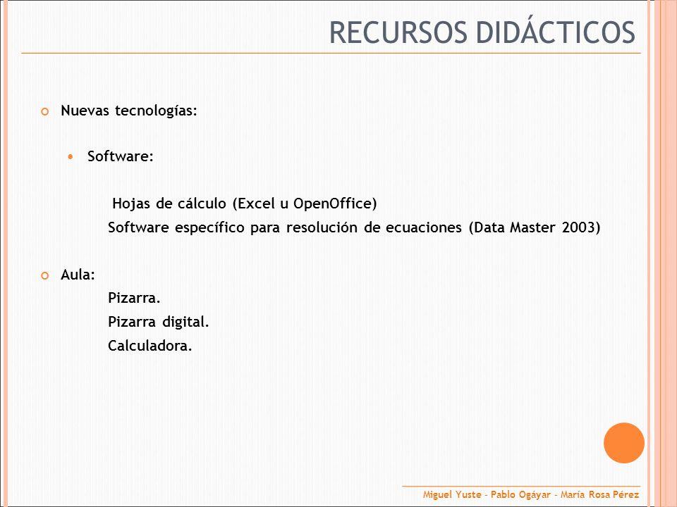 RECURSOS DIDÁCTICOS Nuevas tecnologías: Software: