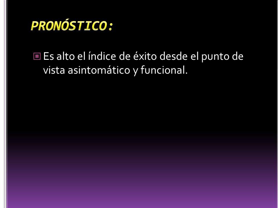 PRONÓSTICO: Es alto el índice de éxito desde el punto de vista asintomático y funcional.