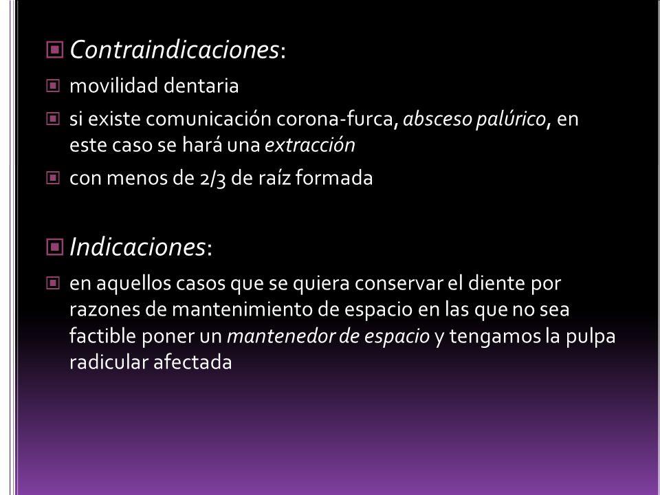 Contraindicaciones: Indicaciones: movilidad dentaria