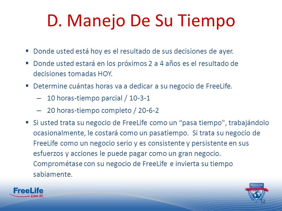 D. Manejo De Su TiempoDonde usted está hoy es el resultado de sus decisiones de ayer.