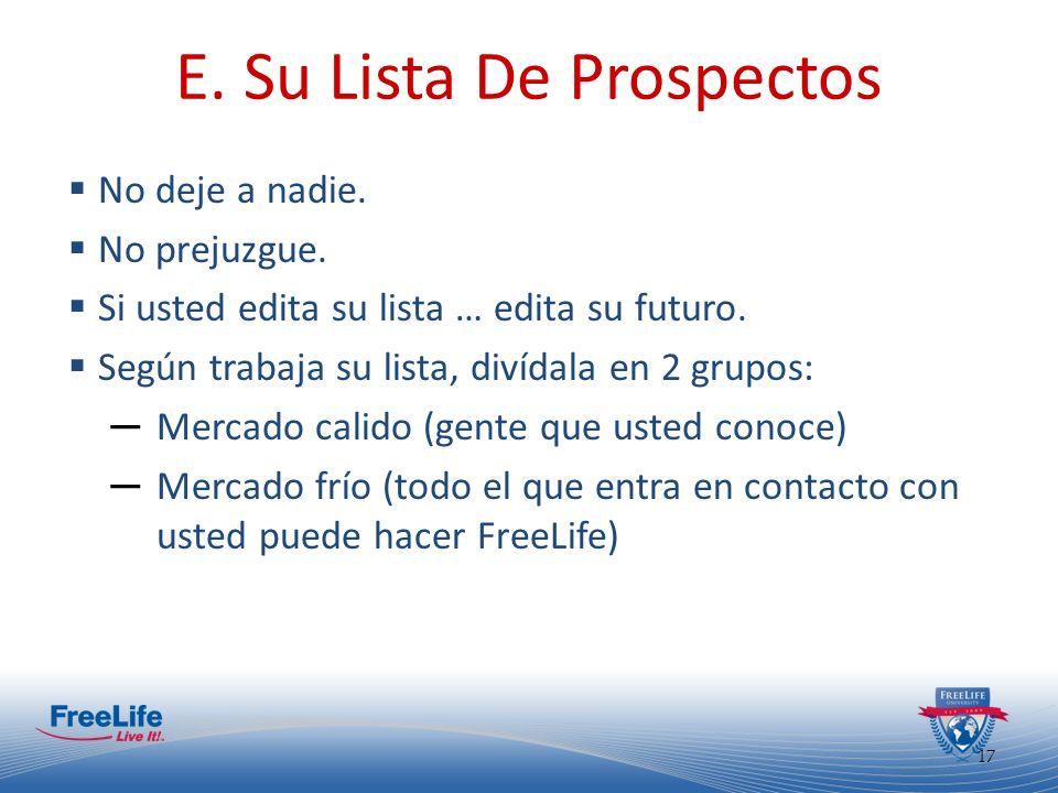 E. Su Lista De Prospectos
