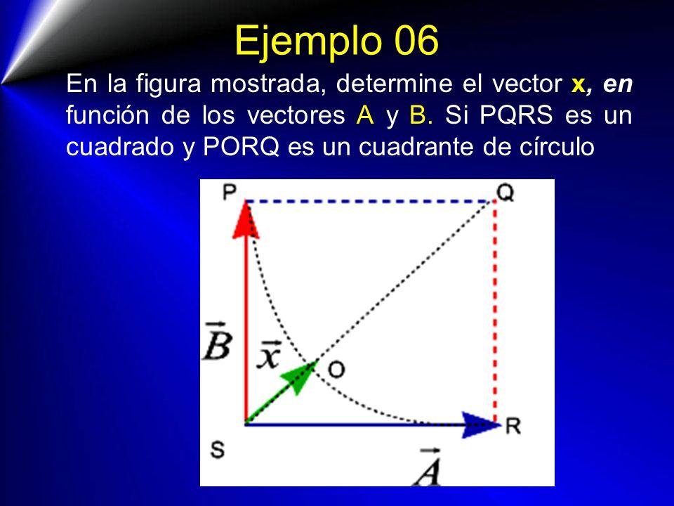 Ejemplo 06 En la figura mostrada, determine el vector x, en función de los vectores A y B.