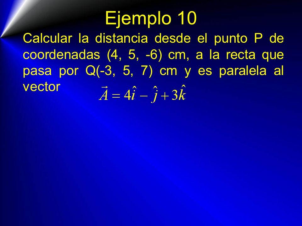 Ejemplo 10 Calcular la distancia desde el punto P de coordenadas (4, 5, -6) cm, a la recta que pasa por Q(-3, 5, 7) cm y es paralela al vector.