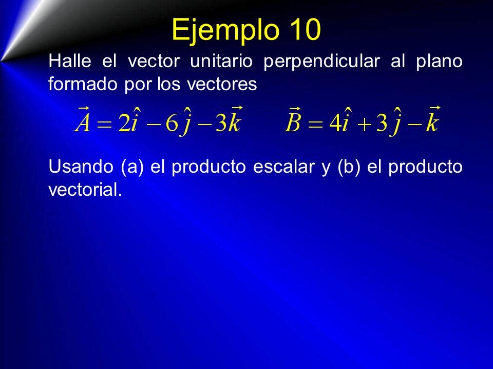 Ejemplo 10 Halle el vector unitario perpendicular al plano formado por los vectores Usando (a) el producto escalar y (b) el producto vectorial.
