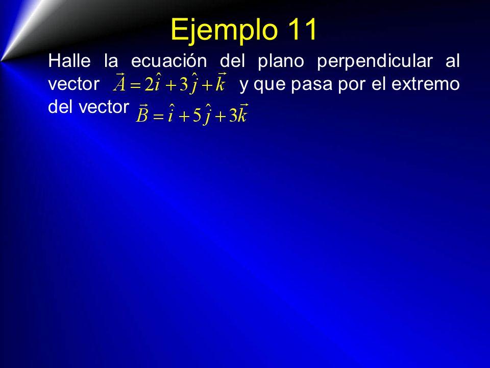 Ejemplo 11 Halle la ecuación del plano perpendicular al vector y que pasa por el extremo del vector.