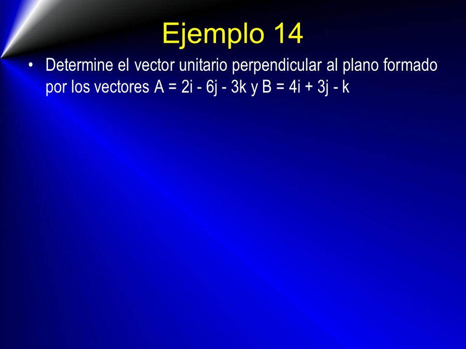 Ejemplo 14 Determine el vector unitario perpendicular al plano formado por los vectores A = 2i - 6j - 3k y B = 4i + 3j - k.