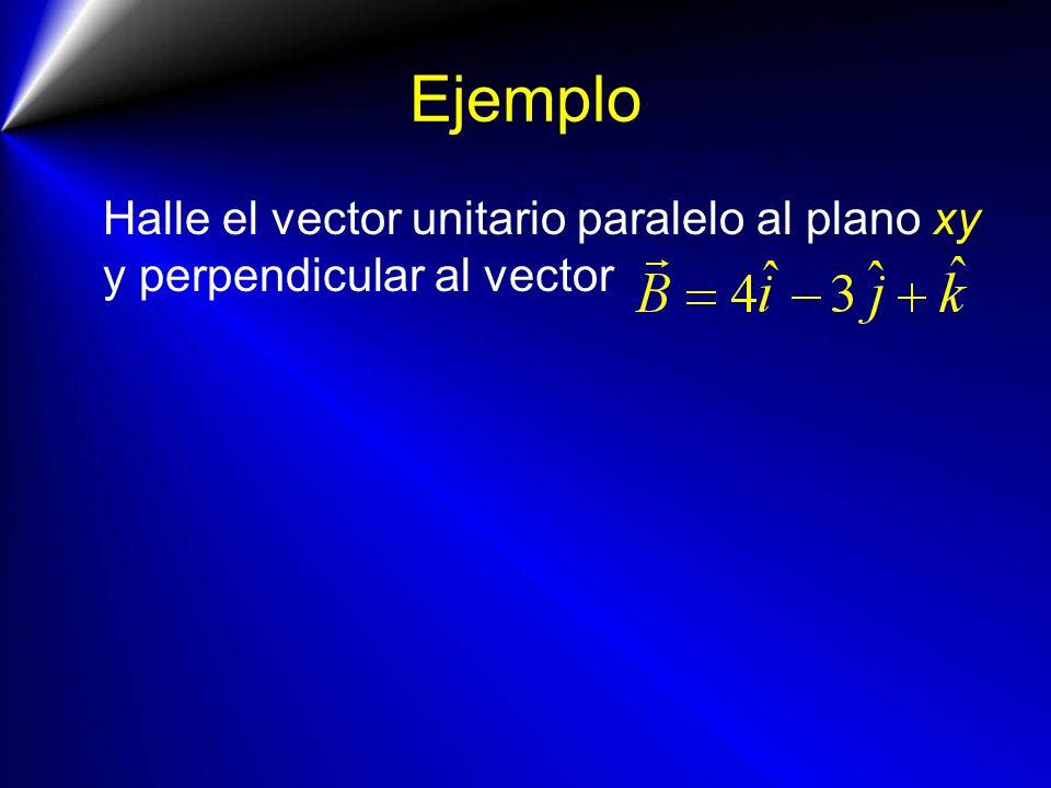 Ejemplo Halle el vector unitario paralelo al plano xy y perpendicular al vector