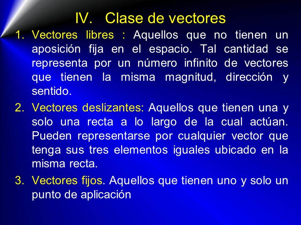IV. Clase de vectores